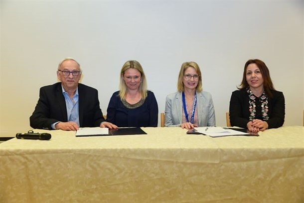 Left to Right :Prof. Bertold Fridlender, President, Hadassah Academic College;Ms. Alina Ianson, National Executive Director, Canadian Hadassah-Wizo;Ms. Debbie Eisenberg, National President, Canadian Hadassah-Wizo; Ms. Maya Shraga Albalak, CFO, Hadassah Academic College